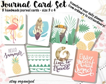 Summer Journal Cards Pocket Letters Project Life Journaling Cards Scrapbook Cards Assorted Cards Scrapbooking 3x4 Cards JC014