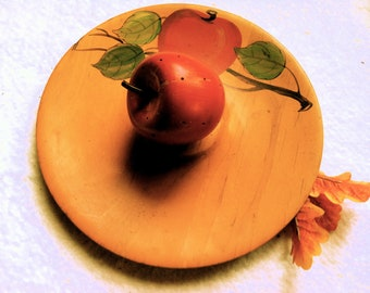 Vintage Wooden Apple Hors d'oeuvres Serving Tray