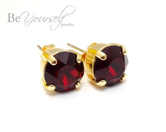 Red Bridal Studs Gold Bride Earrings 8mm Swarovski Crystal Siam Solitaire Studs Dark Red Bridesmaid Gift Ruby Earring Garnet Wedding Jewelry