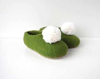 Felted slippers -boiled wool slippers - house shoes - handmade wool slippers - green girls slippers with pom pom - inspired by Tinker Bell