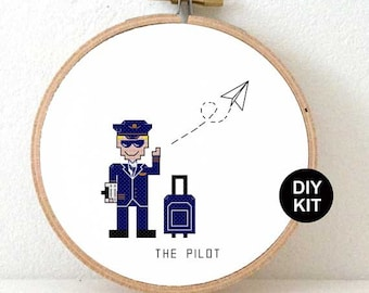 Cross Stitch Kit Pilot. Gift for pilot dad. Easy cross stitch kit including wooden embroidery hoop