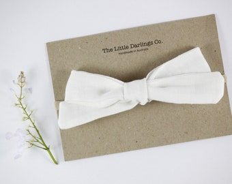 Hand Tied Hair Bow 100% Linen Large Schoolgirl in White // Clip or Band