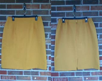 1980s Mustard Yellow Pencil Skirt, 16