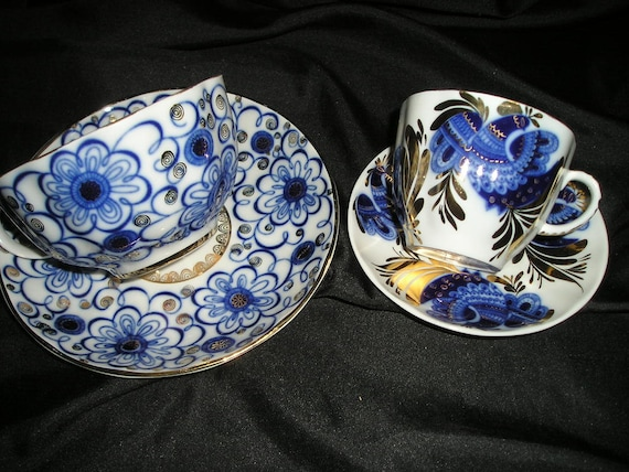 Vintage Romantic Glamorous Gift Set For 2 Coffe/Tea Espresso Cups U0026 Saucers  Russian Imperial Splendor Hollywood Regency Mint.