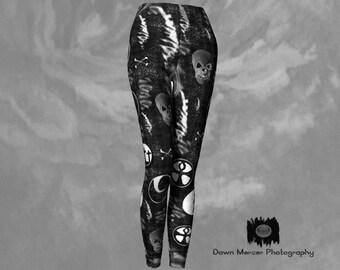 Leggings Leggings Goth Leggings noir imprimé Leggings moulant Leggings  Leggings serré Yoga pantalon Legging avec dessins noir Art Unique de tête  de mort e1a7c598a4c