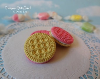 Fake Cookies Three Faux Pink Strawberry Vanilla Sandwich Cookies