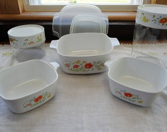 Pyrex Glass Storage Refrigerator Containers Corning Ware Casserole Dish Set Wild Flower Pattern With Removable Plastic & Corning ware | Etsy