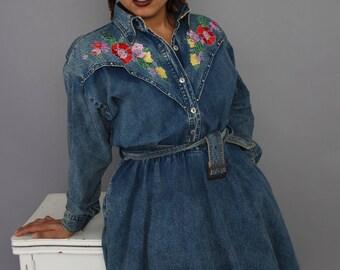Denim Floral Dress