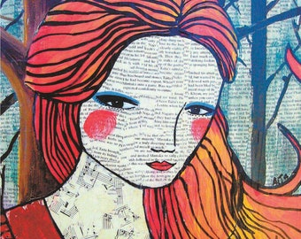Modern Bold Portrait Art Poster Print, Little Red Riding Hood, Fairy Tale Story, Character with Bright Red Hair, Blue Eyes, Collage Music
