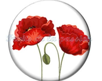 Set of 2 20mm, nature, flower, round glass cabochon