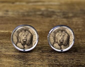 Lion cufflinks, Lion jewelry, Lion accessories