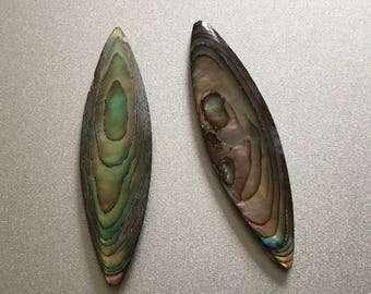 Set of 2 vintage marquise cut abalone shell cabochons