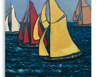 Canvas Print Wall Art Taken From The Original Oil Painting 'Les Yacht Classiques I' By Sally Anne Wake Jones
