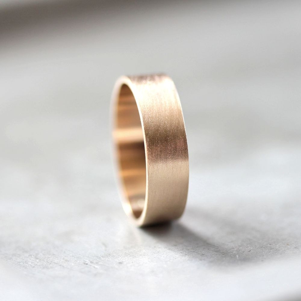 Mens Gold Wedding Band 6mm Wide Brushed Flat 10k
