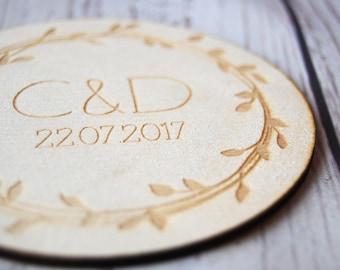 Personalised Wedding favours ~ Wooden Coasters ~ Wedding keepsake ~ Oak ~ Cherrywood ~ Beechwood ~ Sample
