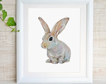 Bunny Painting Bunny Print Bunny Watercolor Bunny Art Rabbit Art Print Rabbit Watercolor Painting Baby Rabbit Baby Animal Print Bunny Poster