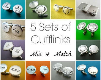 5 Sets of Personalized Cufflinks - Mix and Match Any style - Custom Aluminum Cuff links
