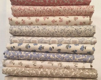 Fat Quarter Bundle of 10 of Downton Abbey Downstairs Collection by Kathy Hall for Andover Fabrics