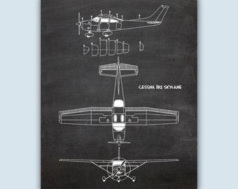 Aviation Wall Art, Airplane Decor, Pilot Gift, Airplane Art, Airplane Poster, Chalkboard Print, Aviation Gifts, Cessna 182 Skylane