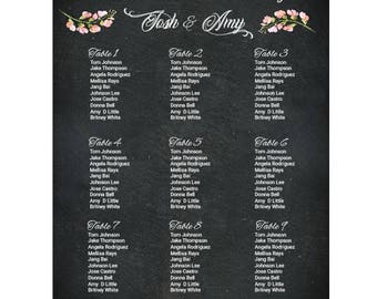 Chalkboard Wedding Table Assignments Board, Digital File, Wedding Seating Chart Poster, Wedding Place Cards, Table Settings, Table Listings