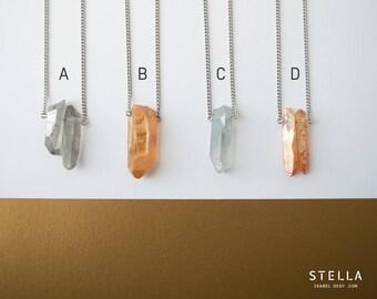 Collier de quartz brut, bijou pointe de quartz, chaîne courte ou longue en acier inoxydable, collier minimaliste, pendentif quartz