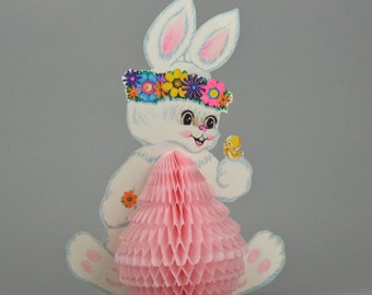 Two Easter Bunnies, Beistle Honeycomb Easter Decorations, 2 Groovy Flower Power Three Dimensional Centerpieces made in the USA