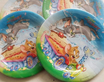 10 Party Large Plates 23 cm ''Tom and Jerry Key''-birthday/table decor/themed party/cat/mouse/boy/made in Italy.