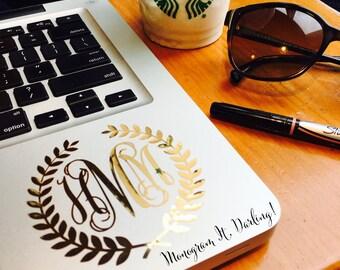 Gold Foil Monogram Laurel Wreath Monogram Decal Sticker - Laptop, iPhone, iPad, Planner