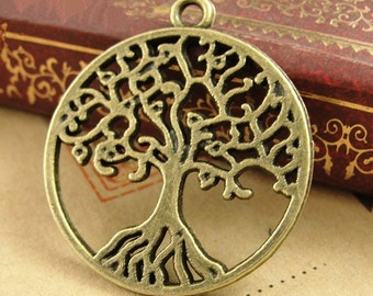 Wholesale 100pcs 26mmx29mm Antique Silver tone/Antque Bronze Lucky Tree of Life Connector Charms Findings