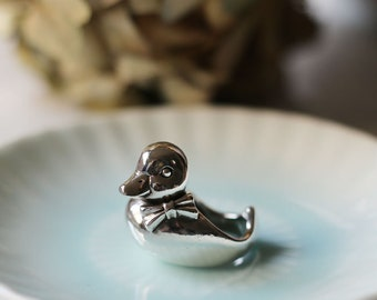 PETITE FILLE Handmade Jewelry Gentleman Yellow Duck Sterling Silver Ring