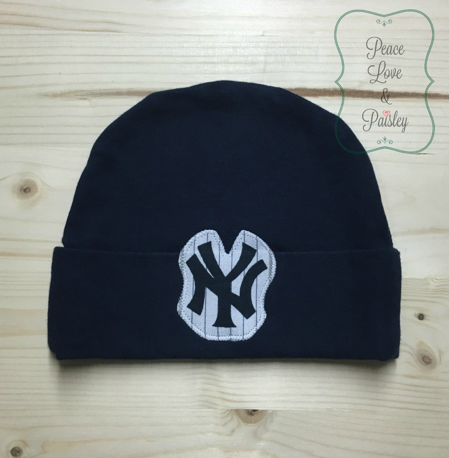 Yankees Baby Hat Made from New York Yankees Fabric NY Yankees