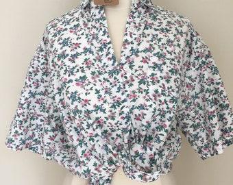 Oversized cotton floral blouse, fits s-m
