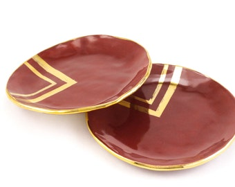 Modern Jewelry Catchall Plate: Oxblood Red Triangle Plate