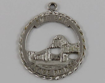 Fort Erie Peace Bridge Sterling Silver Vintage Charm For Bracelet