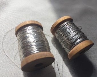 Antique Silver metal thread  Combo pack over 600  inches 2 wooden spools of antique metallic thread for Fly fishing and French steel bags