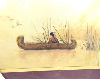 Native American in Canoe Embroidery Kit, Still Waters, Sunset Stitchery, Indian Art