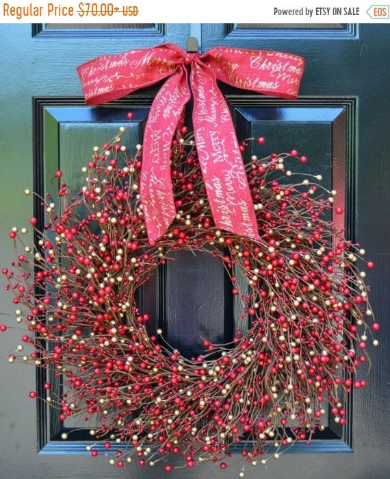 SUMMER WREATH SALE Berry Wreath- Red and Gold Wreath- Door Wreath- Christmas Wreath- Winter Wreaths- Winter Decor- Holiday Wreath- Holiday D
