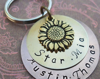 Sunflower Keychain - You are My Sunshine - Personalized Keychain - Custom Names - Rustic Wedding Gift - Sunflower Wedding Anniversary -K19