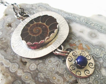 Ammonite Fossil w/ Blue Lapis Lazuli Textured Dangle Pendant in Sterling Silver Necklace Jewelry