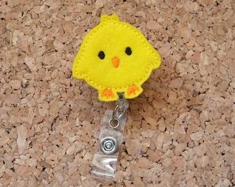 Easter Badge Reel, Felt Yellow Chick ID Badge Reel, Lanyard, Retractable Name Holder, Planner Clip, Magnet, Pin, 483