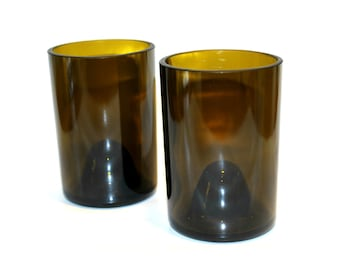 Recycled Wine Bottle Drinking Glasses Tumblers - Set of 2
