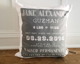 Black birth announcement pillow cover