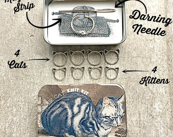 Notions tin, Knitting Kit, Tool kit for knitters, Cat Stitch markers