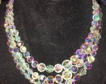 Vintage Crystal AB 3 Strand Necklace