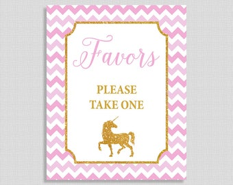 Babies Are Sweet Please Take a Treat Sign, Unicorn Pink & Gold Glitter Baby Shower Favor Sign, INSTANT PRINTABLE