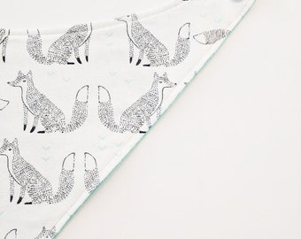 Fox Baby Bib. Bandana Bib Sketched Foxes. Baby Bandana Bib. Gifts for Baby. Baby Bib. Drool Bib. Baby Scarf. Baby Fox. Foxes. Fox Nursery.