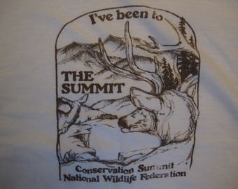 Vintage 80's Conservation Summit National Wildlife Federation Souvenir White T Shirt Size M