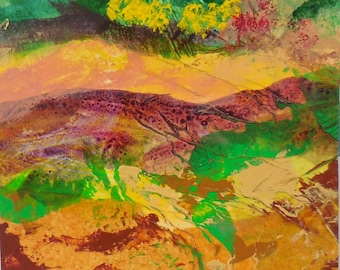 Acrylic on paper and mixed media landscape