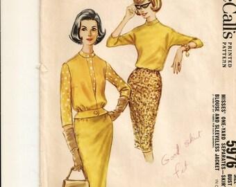 """A Blouson Blouse, Slim Skirt, and Sleeveless Waist-Buttoned, Peplum Waist Jacket Pattern for Women: Retro Size 14, Bust 34"""" • McCall's 5976"""