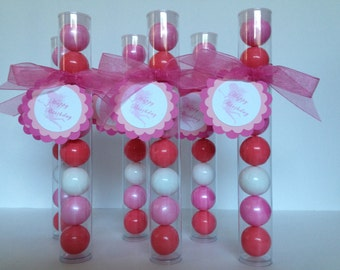 Fairy Party,Pink Fairy Party,Pink Princess Party,Pink Flower Fairy Party,Gumball Tube Party Favors Set of 12